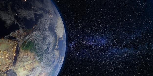 지구와 우주 은하 은하수 배경 3d 그림