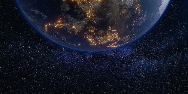 Земля и космос галактика млечный путь фон 3d иллюстрация
