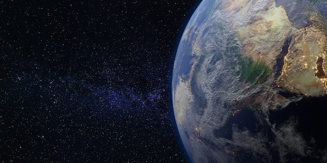 地球と宇宙銀河天の川の背景3dイラスト
