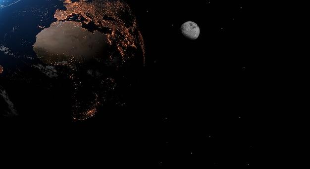 Земля ночью. мой мир. элементы этого изображения предоставлены наса. 3d иллюстрации