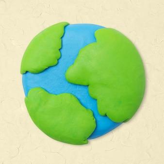 지구 점토 아이콘 귀여운 diy 환경 크리 에이 티브 공예 그래픽