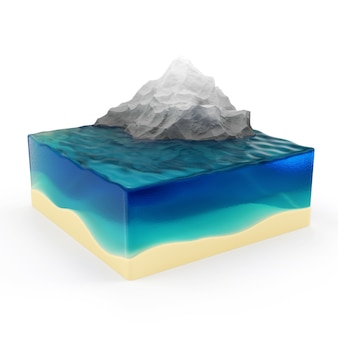 Earth cross section with ocean and mountains