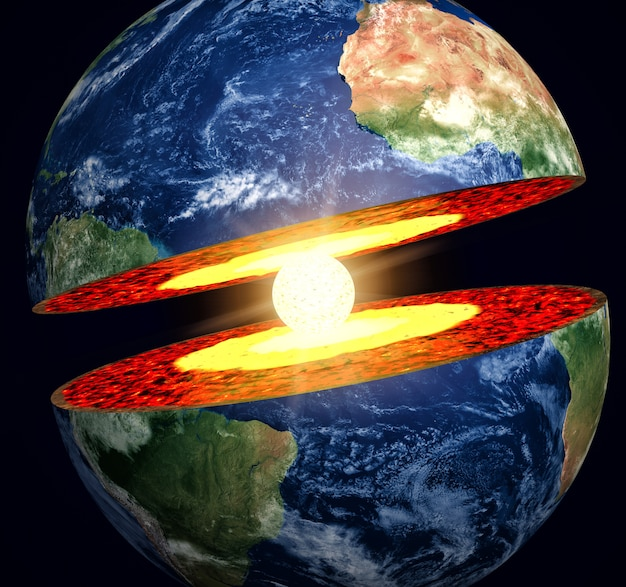 Earth cut-away with visible iron core