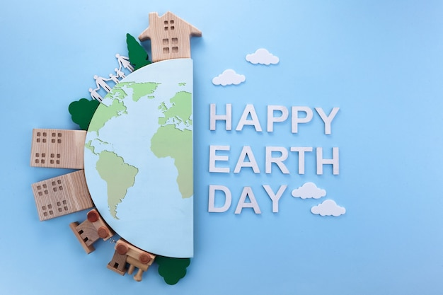 Earth day in modern style. environmental protection, ecology. eco friendly world. simple modern. Premium Photo