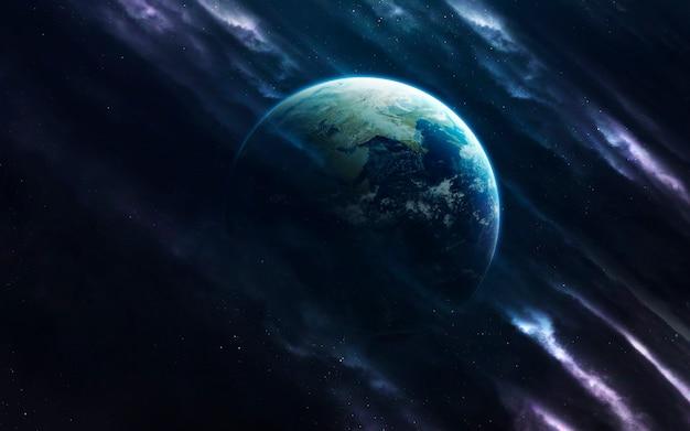 Земной шар. изображение глубокого космоса, фантастическая фантастика в высоком разрешении идеально подходит для обоев и печати. элементы этого изображения, предоставленные наса
