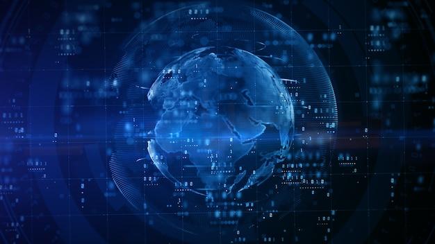 파란색 배경으로 지구 디지털 디자인