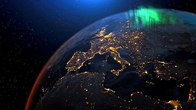 宇宙から夜のスカイラインへの地球衛星ビューで回転する地球宇宙旅行nasaによって提供されたこの画像のリアルな3dレンダリングアニメーション要素