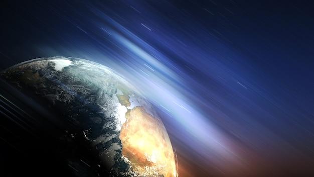 Земной шар среди космического космоса футуристическая иллюстрация