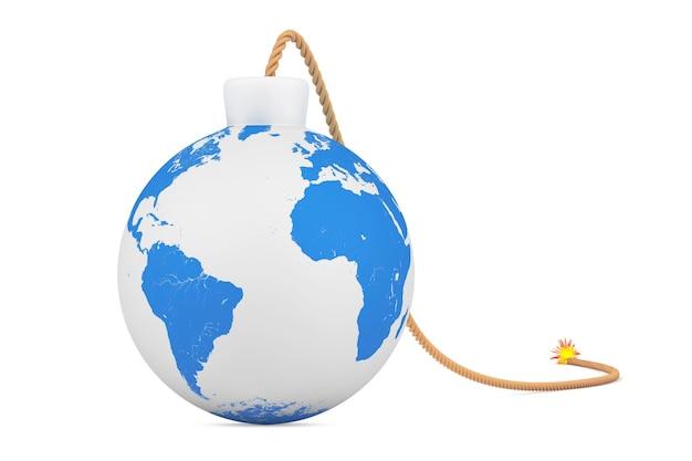 Земной шар как бомба с фитилем на белом фоне. 3d рендеринг