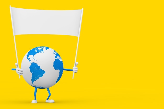 Талисман характера глобуса земли и пустой белый пустой знамя с свободным пространством для вашего дизайна на желтом фоне. 3d рендеринг