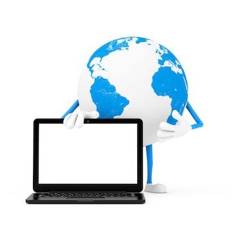 Талисман характера глобуса земли и современный портативный компьютер тетрадь с пустым экраном для вашего дизайна на белой предпосылке. 3d рендеринг