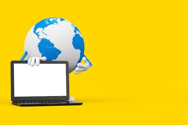 Талисман характера глобуса земли и современный портативный компьютер с пустым экраном для вашего дизайна на желтом фоне. 3d рендеринг
