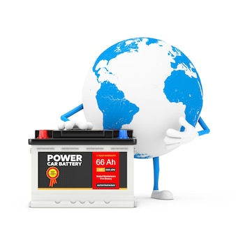 Earth globe character mascot and rechargeable car battery 12v accumulator with abstract label on a white background. 3d rendering