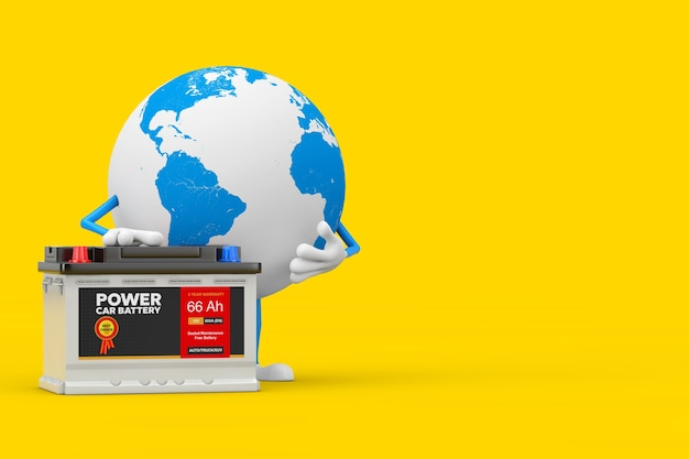 Earth globe character mascot and rechargeable car battery 12v accumulator with abstract label on a yellow background. 3d rendering