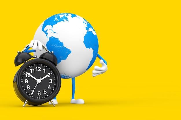 흰색 바탕에 알람 시계와 함께 지구 글로브 캐릭터 마스코트. 3d 렌더링