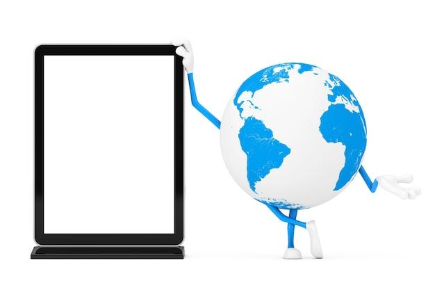 白い背景の上のあなたのデザインのテンプレートとして空白の見本市lcdスクリーンスタンドと地球儀のキャラクターのマスコット。 3dレンダリング