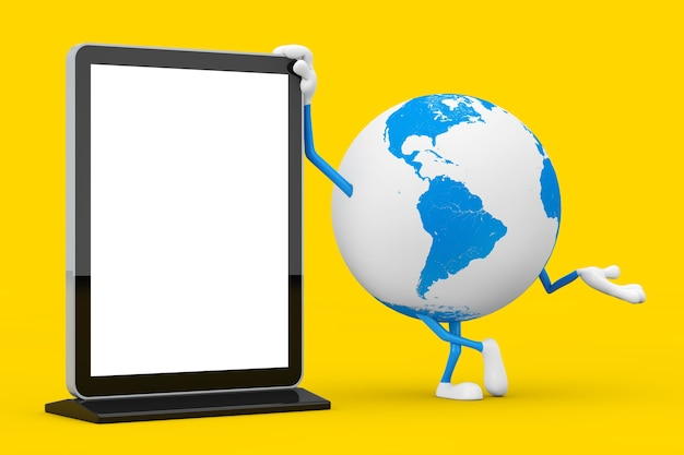 黄色の背景にあなたのデザインのテンプレートとして空白のトレードショーlcdスクリーンスタンドと地球儀キャラクターマスコット。 3dレンダリング