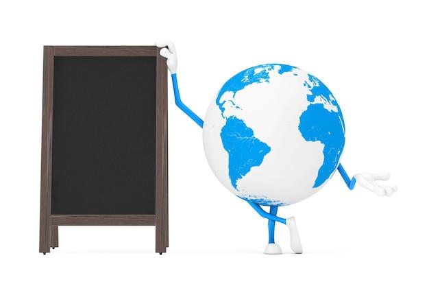 Талисман характера глобуса земли с дисплеем пустых деревянных досок классн классного меню напольным на белой предпосылке. 3d рендеринг