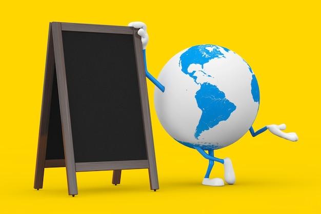 Талисман характера глобуса земли с дисплеем пустых деревянных досок классн классного меню напольным на желтой предпосылке. 3d рендеринг