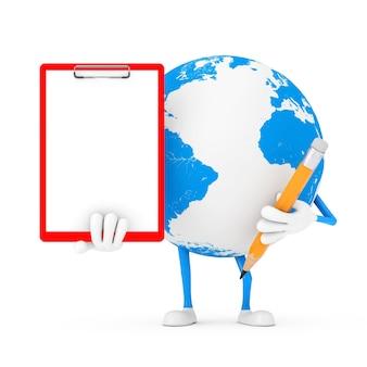 흰색 바탕에 빨간색 플라스틱 클립보드, 종이, 연필이 있는 지구 글로브 캐릭터 마스코트. 3d 렌더링