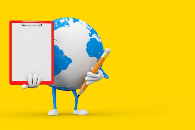 노란색 배경에 빨간색 플라스틱 클립보드, 종이, 연필이 있는 지구 글로브 캐릭터 마스코트. 3d 렌더링