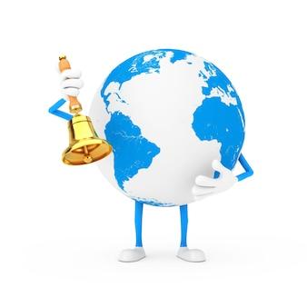 Талисман характера глобуса земли с винтажным золотым школьным колоколом на белой предпосылке. 3d рендеринг