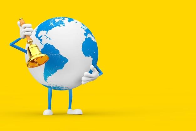 Талисман характера глобуса земли с винтажным золотым школьным колоколом на желтой предпосылке. 3d рендеринг