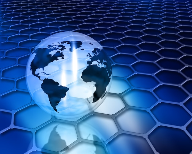 Earth globe on honeycomb background