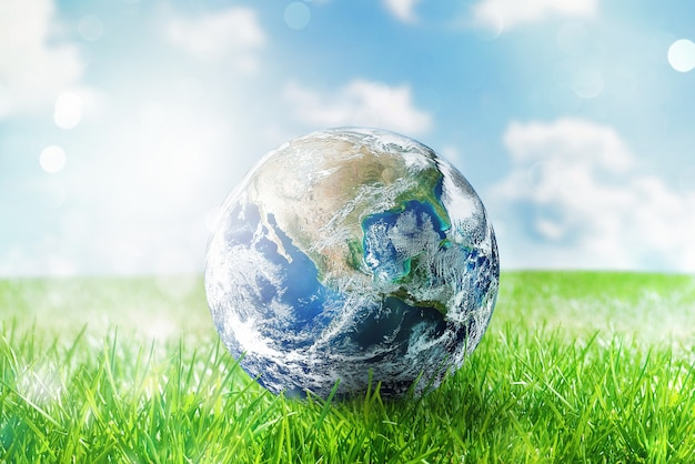 Глобус земли в солнечном зеленом нетронутом поле. мир предоставлен наса
