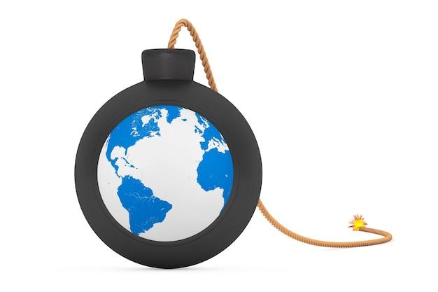 Земной шар в черной бомбе с фитилем на белом фоне. 3d рендеринг