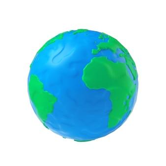 Моделирование земного шара из пластилина синей и зеленой глины на белом фоне 3d рендеринг
