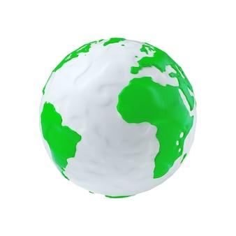 Моделирование земного шара из пластилина бело-зеленой глины на белом фоне 3d рендеринг