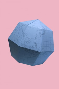 Earth globe polygonal planet paper