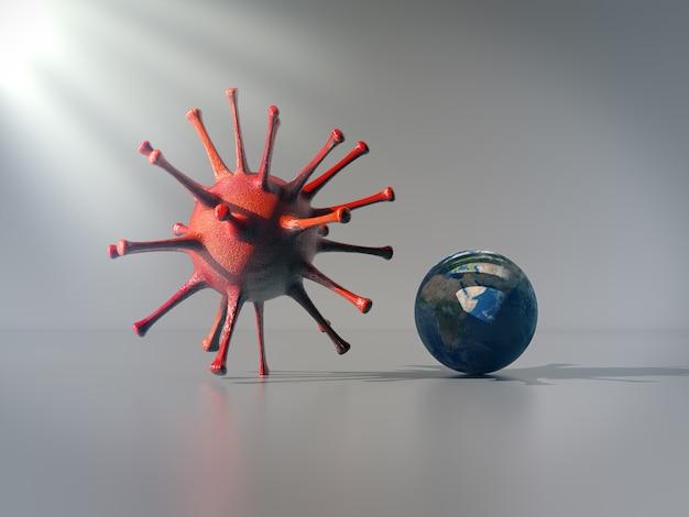 コロナウイルスの影の下にいる地球