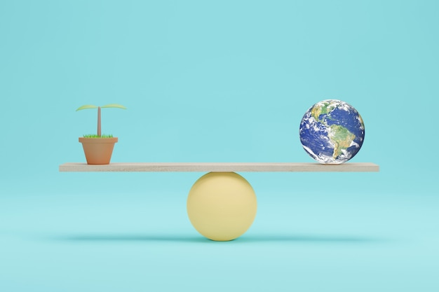 地球儀とスケール上の苗、3dイラスト。エコロジーとコストバランスの概念。 nasaによって提供されたこの画像の要素