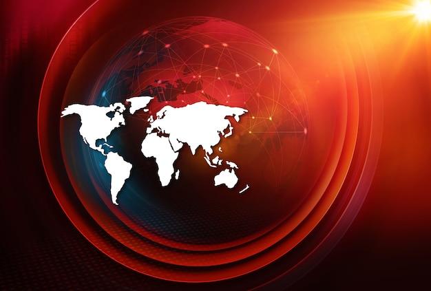 Земной шар с линиями связи через страны