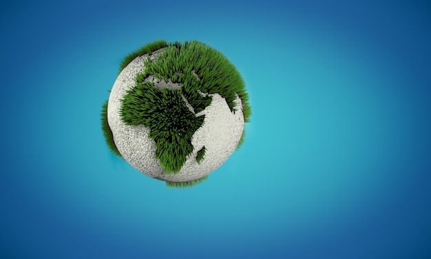 Earth globe with growing green and painted white grass like on soccer field