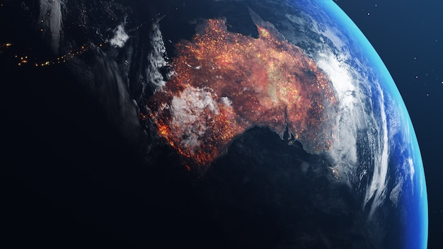 Earth globe with map of australia all burnt and on fire