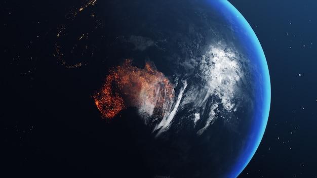 オーストラリアの地図がすべて燃えて燃えている地球儀