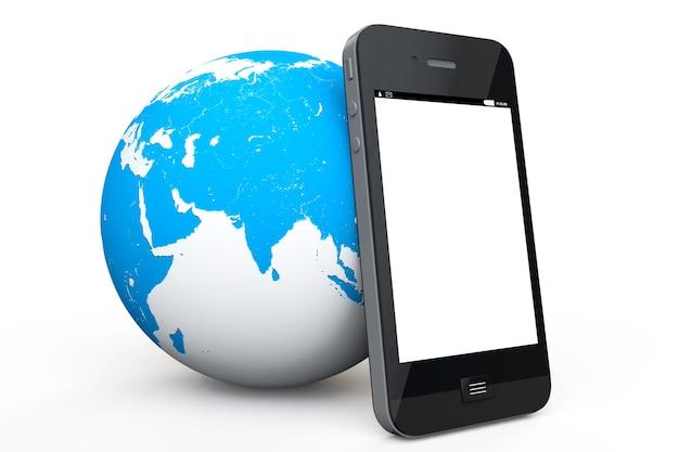Земной шар с мобильным телефоном на белом фоне