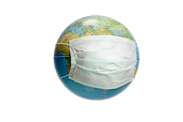 Earth globe with protective mask