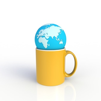 Earth globe with yellow coffee cup isolated on white background