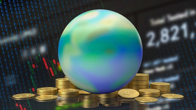 The earth and gold coins for business concept 3d rendering