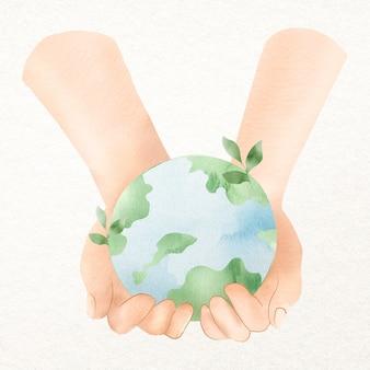 우리의 행성 디자인 요소를 받아 넣는 지구 손