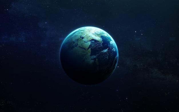 地球-高解像度の美しい芸術は太陽系の惑星を提示します