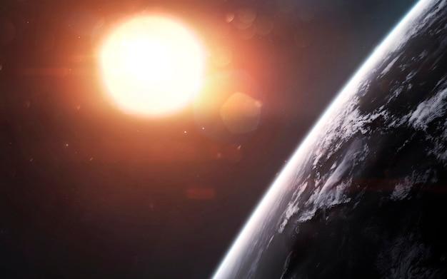 Земля перед светящимся солнцем. визуализация космической научной фантастики. элементы этого изображения, предоставленные наса