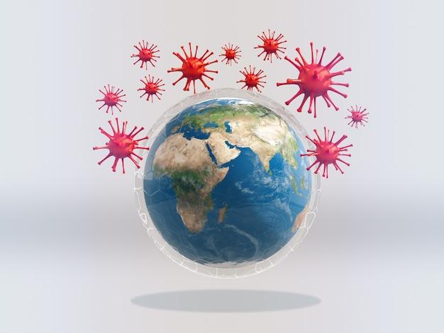 ホワイトスペース上のウイルスに囲まれたガラスの盾の地球。