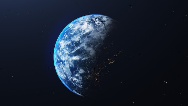 우주와 은하계 배경에서 빛나는 일출과 공간보기에서 지구. 자연과 세계 환경 개념