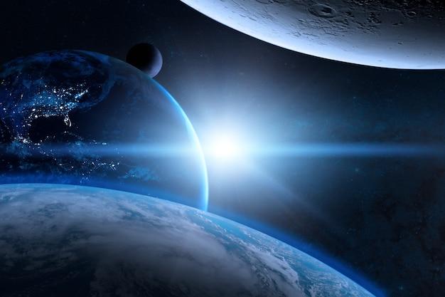 Земля в космическом пространстве с красивой планетой