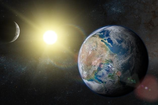 Земля в космическом пространстве с прекрасным восходом солнца